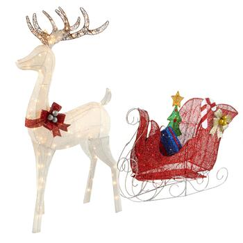 "60"" Color-Changing LED Glitter Reindeer and Sleigh"