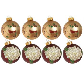 4-Pack Red/Gold Poinsettia and Cardinal Ornaments, Set of 2
