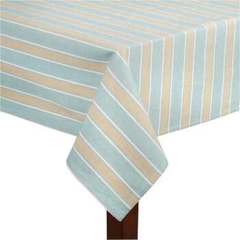 Blue/Tan Stripe Cotton Jacquard Tablecloth