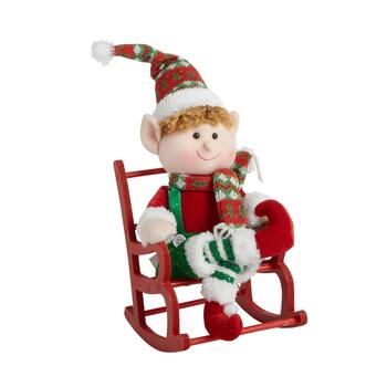 "14"" Boy Elf on Rocking Chair"