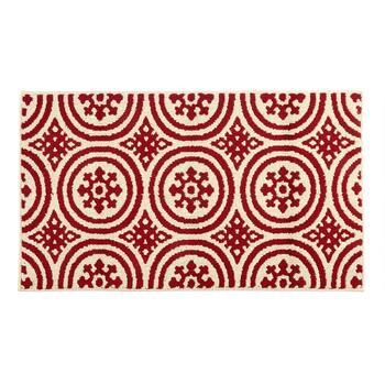 Mohawk Home Crimson Patterned Circles Accent Rug