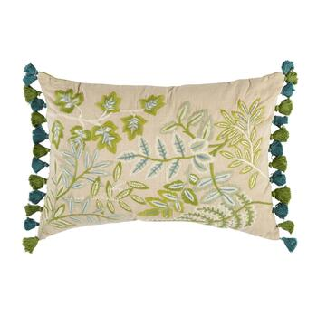 Embroidered Vine Oblong Throw Pillow