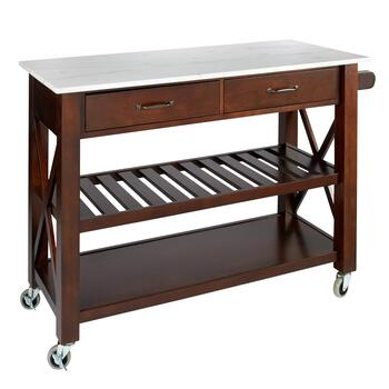 Marble Top Espresso 2 Drawer Rolling Kitchen Island Christmas Tree S And That