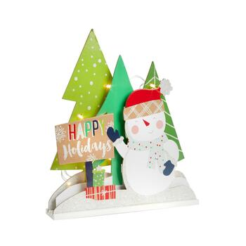 "13.25"" ""Happy Holidays"" LED Snowman Scene"