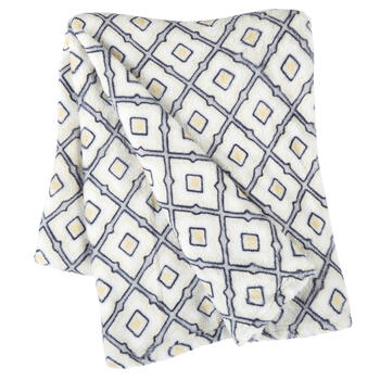 Yellow Diamond Pattern Velvety Throw view 1