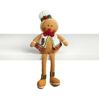 "17.5"" Dangling Leg Gingerbread Baker with Bowtie"