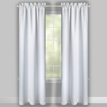 White Embossed Blackout Window Curtains, Set of 2 view 2