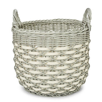 Petal and Stone™ Resin Round Gray Handle Basket view 1