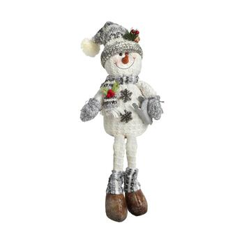 "28"" Gray Scarf and Sled Dangling Legs Sitting Snowman"