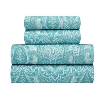 Richmond Teal Paisley Microfiber Sheet Set