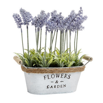 "The Grainhouse™ 11"" Lavender Metal Oval Flower Tub view 1"
