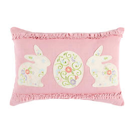 Bunnies and Egg Pink Ruffle Oblong Throw Pillow view 1