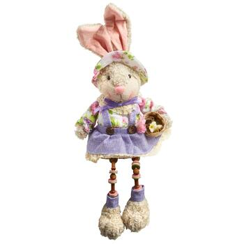 Sitting Bunny with Dangling Legs and Flowers