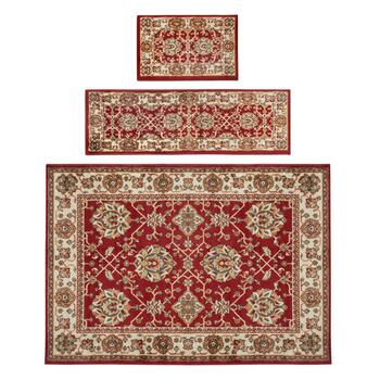 Red Traditional Printed Rug Set, 3-Piece