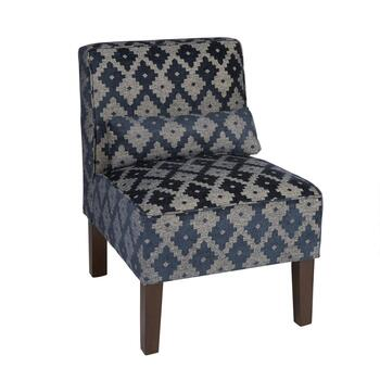 Dark Blue Bamako Upholstered Accent Chair with Pillow