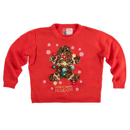 """Have a Sweet Holiday"" Sequined Gingerbread Light-Up Ugly Sweater view 1"