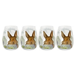 Green Floral Bunny Stemless Wine Glasses, Set of 4 view 1
