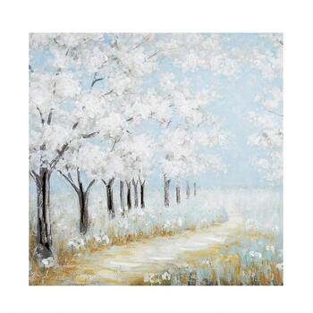 "30"" White Flower Trees Walkway Canvas Wall Art"