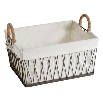 The Grainhouse™ Rectangular Wire Basket with Lining