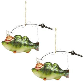 Fish on Pole Glittered Ornaments, Set of 2