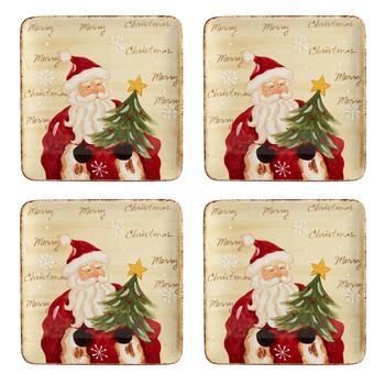 """Merry Christmas"" Santa Ceramic Square Dinner Plates, Set of 4"