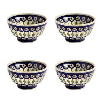 Polish Pottery Peacock Cereal Bowls, Set of 4