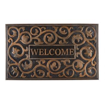 "18""x30"" ""Welcome"" Scroll Metallic Rubber Door Mat"