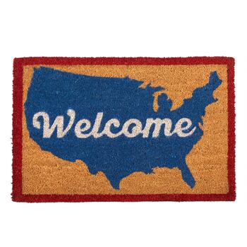"""Welcome"" USA Map Coir Door Mat"