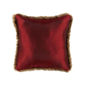Red Plaid Reindeer Embellished Square Throw Pillow view 2