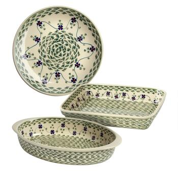 Polish Pottery Green Basketweave Handmade Bakeware Collection