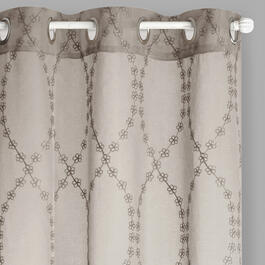 "84"" Metallic Floral Chain Grommet Window Curtains, Set of 2 view 1"