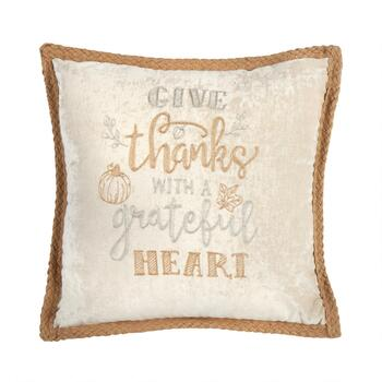"""Give Thanks with a Grateful Heart"" Square Throw Pillow"