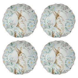 Bunny and Blossoms Scalloped Ceramic Dinner Plates, Set of 4 view 1