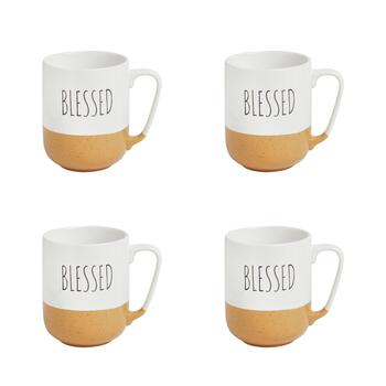 "The Grainhouse™ ""Blessed"" Mugs, Set of 4"
