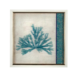 "13"" Blue Coral Framed Square Wall Decor view 1"