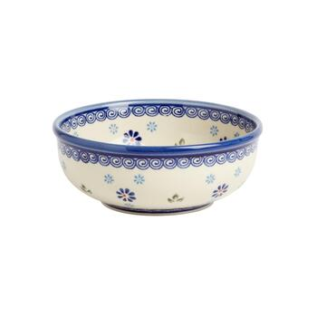 Polish Pottery Peacock Feathers Handmade Serving Bowl
