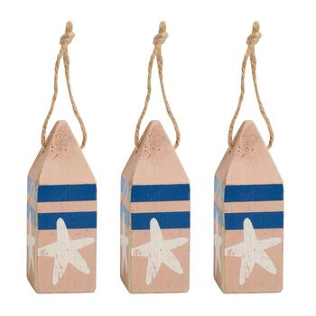 Starfish Blue Stripe Wood Buoy Ornaments, Set of 3