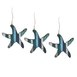 Starfish Slatted Wood Ornaments, Set of 3