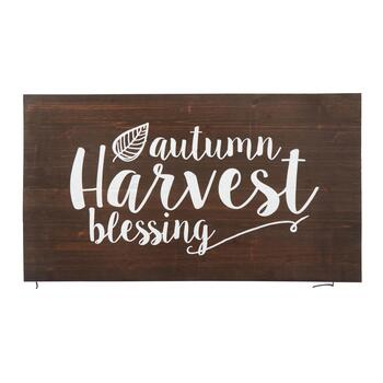 "19""x34"" Brown ""Autumn Harvest Blessing"" Wood Wall Decor"