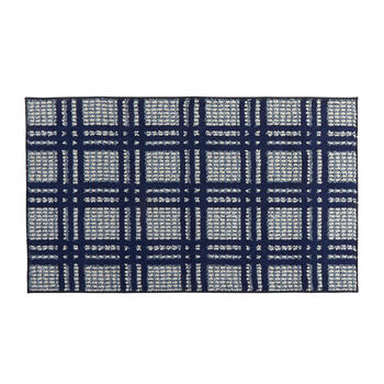 Blue/White Checkered Accent Rug view 1