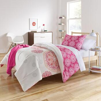 Brianne Pink Medallion Twin XL Comforter Set, 6-Piece