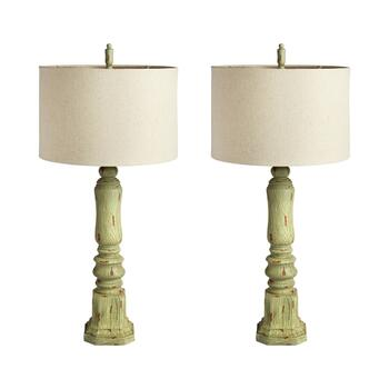 "39"" Green Spindle Buffet Lamp, Set of 2"