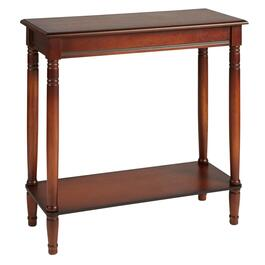 Dark Cherry Console Table with Shelf