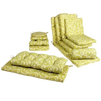 Green Scroll Indoor/Outdoor Chair Cushions Collection