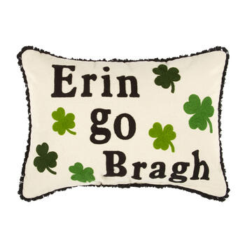 """Erin Go Bragh"" Shamrocks Oblong Throw Pillow view 1"