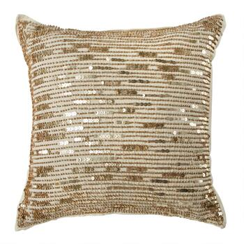 Linear Gold Sequins Embellished Square Throw Pillow