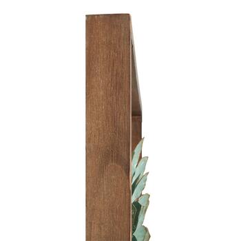 "18"" Green Succulent Plant Wood/Metal Framed Wall Decor view 2"