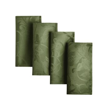 Solid Damask Leaf Easy-Care Fabric Napkins, Set of 8