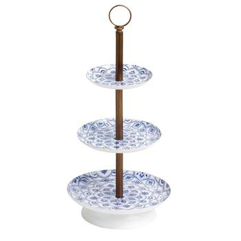 Blue/White Floral 3-Tier Jewelry Stand