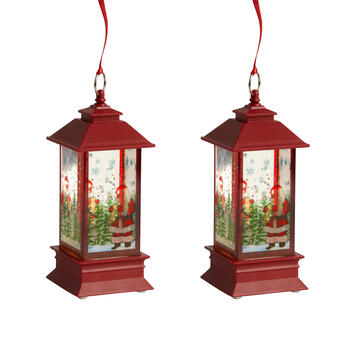 "7"" Red Glitter Santa LED Lanterns, Set of 2 view 1"